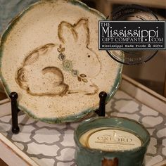 How cute is Fluffy from Etta B Pottery?! Lots of bunnies have arrived just in time for Easter! www.TheMississippiGiftCompany.com/new-arrivals.aspx