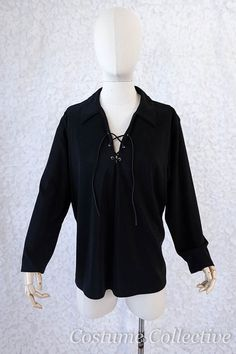 Black Unisex Pirate Shirt by CostumeCollective on Etsy Dance Project, Pirate Shirts, Unisex, Leather And Lace, Pirates, Rock, Man Shirt, Lace Up, Ruffle Blouse