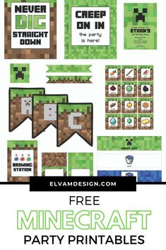 Never dig straight down at this Minecraft birthday party full of minecraft party ideas, free minecraft party printables, and fun ideas for an epic party. Minecraft Party Decorations, Birthday Party Decorations Diy, Minecraft Crafts, Diy Minecraft Birthday Party, Minecraft Party Ideas, Minecraft Box, Minecraft Party Invitations, Party Centerpieces, Minecraft Skins