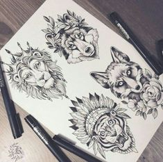 ideas tattoo lion back wolves for 2019 Wolf Tattoos, Lion Tattoo, Animal Tattoos, Body Art Tattoos, Tattoo Drawings, Sleeve Tattoos, Art Drawings, Stencils Tatuagem, Tattoo Stencils