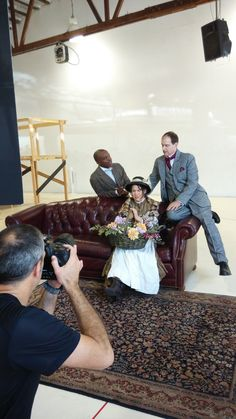 Photographer Kevin Berne at the Pygmalion photo shoot with actors L. Peter Callender, Irene Lucio, and Anthony Fusco.