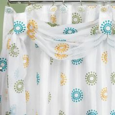 """Julia Fabric Scarf Shower Curtain, 72""""x72,"""" $52.49 (make it work for the living room? These would be pretty with sunshine coming through them.)"""