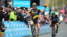 Thomas Voeckler clinches the title if the Tour de Yorkshire in a sprint finish against Nico Roache SKY in Scarborough......May 1st 2016