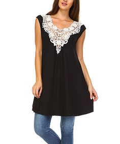 Another great find on #zulily! Black & White Lace-Accent Sleeveless Tunic - Plus #zulilyfinds