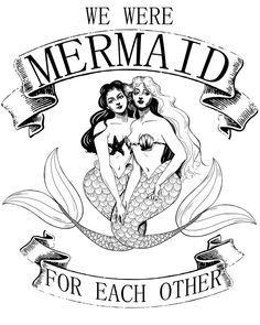 We Were Mermaid For Each Other Framed Art Print by Amanda Allen Niday - Vector Black - Real Mermaids, Mermaids And Mermen, Fantasy Mermaids, Vintage Mermaid, Mermaid Art, Mermaid Paintings, Tattoo Mermaid, Mermaid Tails, Mermaid Prints