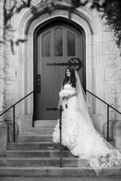 Bridal portrait in front of doors at timeless blush Knoxville wedding, photographed by Ergen Photography | The Pink Bride www.thepinkbride.com