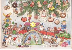 Old Advent Calendar Fritz Baumgarten Gingerbread Toys Angel Dwarves No. Christmas In Germany, Cosy Christmas, German Christmas, Old Fashioned Christmas, Antique Christmas, Scandinavian Christmas, Christmas Images, Country Christmas, Holiday Cards