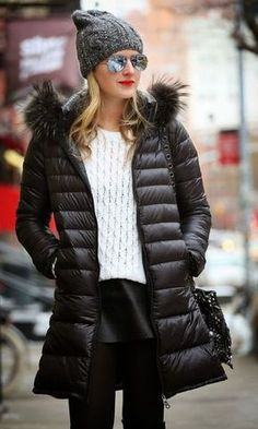 Winter Look: Nylon Jacket + Accessories Plaid Fashion, Sweater Fashion, Fashion Outfits, Womens Fashion, White Fashion, Fashion Fashion, Casual Outfits, Women's Dresses, Winter Wear