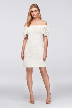 6fc5321ea085 The White Bridal House Off-the-Shoulder Medallion Lace Shift Dress Robbie  Bee - Lace medallions add geometric interest to this flutter-sleeve, ...