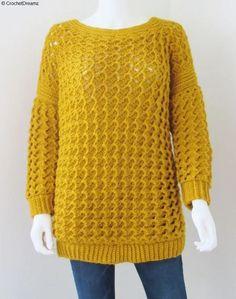 18 ideas crochet sweater pattern free women jumpers for 2019 Crochet Jacket, Crochet Cardigan, Crochet Shrugs, Hat Crochet, Crochet Tops, Crochet Baby, Crochet Granny, Crochet Bikini, Crochet Clothes