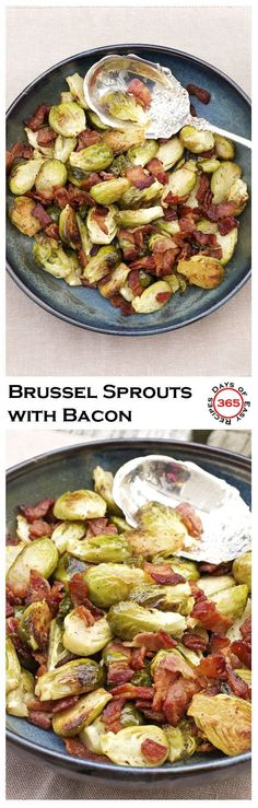 This Roasted Brussels Sprouts Recipe with Bacon makes a fantastic side dish for Thanksgiving dinner Christmas dinner or even an everyday dinner 365 Days of Easy Recipes Bacon Recipes, Side Recipes, Cooking Recipes, Easy Recipes, Thanksgiving Side Dishes, Thanksgiving Recipes, Holiday Recipes, Christmas Recipes, Christmas Parties