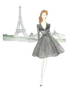 Girl in Black Watercolor Fashion Illustration Paris by Zoia, $19.00