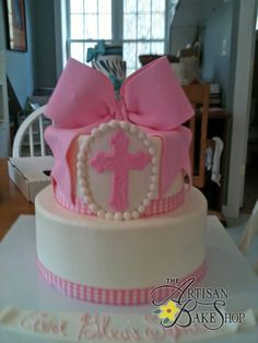 Cross & Pink Bow Buttercream Cake For Communion or Baptism