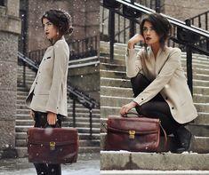 IT'S SNOWING OUTSIDE BUT I DON'T BOTHER (by Mira Berglind) - Blazer, Vintage Bag, Dr. Martens