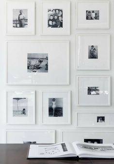 """35 Adorable Gallery Wall Design Ideas To Try Right Now - I just worship gallery walls. Gallery walls are an elegant way to decorate your walls and to add a unique character to your interior. There is no """"rig. Black And White Hallway, Black And White Photo Wall, Photowall Ideas, Home Command Center, Frames On Wall, White Frames, Ikea White Picture Frames, White Framed Art, Empty Frames"""