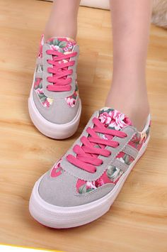 Floral canvas shoes
