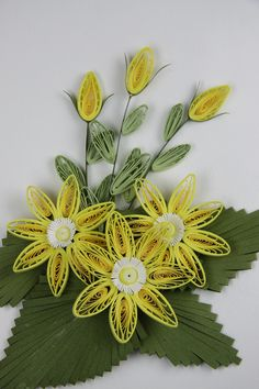 Paper made from paper cold cold brush (quilling comb) Flowers: Naver blog