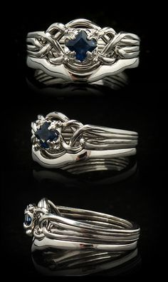Guinevere Puzzle Engagement Ring with Sapphire and 1.7mm Shadow Band