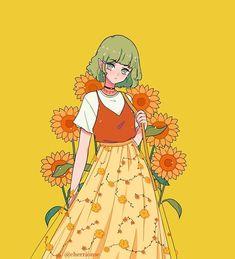 Anime Girl Drawings, Cool Art Drawings, Kawaii Drawings, Anime Art Girl, Aesthetic Drawing, Aesthetic Art, Aesthetic Anime, Kawaii Bunny, Kawaii Art
