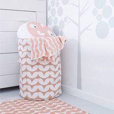 Roomblush Opbergmand Hearts roze canvas katoen 50x40cm