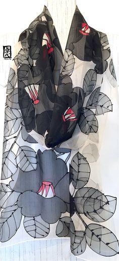 Hand Painted Silk Scarf Long ETSY MOD Scarf by SilkScarvesTakuyo