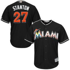 Giancarlo Stanton Miami Marlins Majestic Cool Base Player Jersey - Black