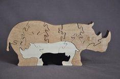 Rhino Rhinoceros 3D Animal Puzzle Wooden Toy Hand  Cut with Scroll Saw