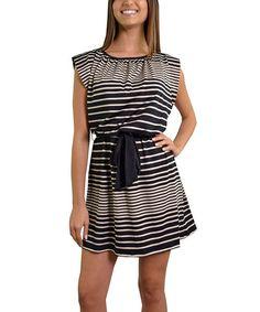 Look what I found on #zulily! Black & Khaki Stripe Tie-Waist Dress by Fashion House LA #zulilyfinds