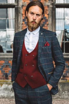 Our bestselling Dion looks spot on with our Kelly Wine waistcoat, coordinating with the wine check perfectly. * Eton features colour pop inside lining and contrast trim detailing to the pockets. The blazer is a double button style and the trousers include a hook bar fastening * Kelly double breasted waistcoat features Brown Tweed Suit, Mens Tweed Suit, Tweed Suits, Mens Fashion Suits, Mens Suits, Men's Fashion, Navy Check Suit, Tweed Wedding Suits, Double Breasted Waistcoat