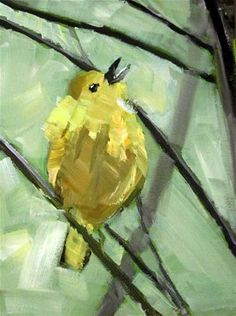 """Yellow warbler-1 Bird series"" - Original Fine Art for Sale - © by Padmini Muddu"