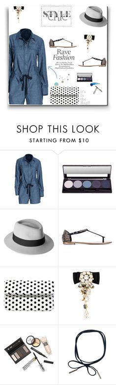 """""""Trendy in a Jumpsuit!!!"""" by prettynposh2 ❤ liked on Polyvore featuring Canvas by Lands' End, Maison Michel, Giuseppe Zanotti, La Regale, Dolce&Gabbana, Borghese, chambray and polka"""