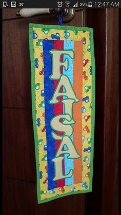 Personalised door hanging for a boy room