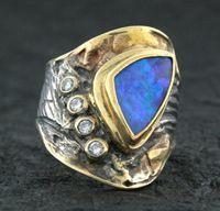 Boulder Opal / Diamond Ring