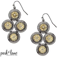#VENICE melds the best of gold and silver. Each lacy golden disk is showcased in an ornate antiqued silver frame and accented by a miniature crystal. A cluster of four fashion the stunning drop earrings. #ParkLaneJewelry