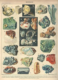 vintage mineral illustration from an antique French encyclopedia, ca. 1900
