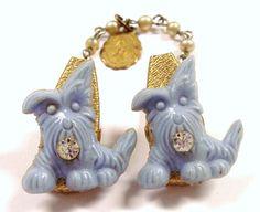 vintage scottish pearls    VINTAGE Sweater Guard Clip Blue Scottie Dogs Puppies Guardian Angel ...