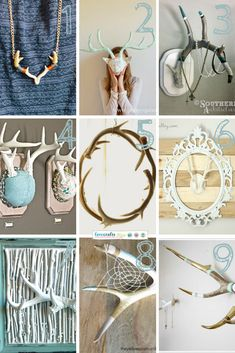 Link Love: DIY Antlers - Free tutorials for diy home decor with deer antlers Deer Antler Crafts, Antler Art, Antler Mount, Deer Horns, Deer Skulls, Cow Skull, Animal Skulls, Deer Decor, Decorating With Deer Antlers