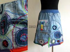Crazy Patchwork Skirt Patchwork Denim Upcycled by MARTINELI
