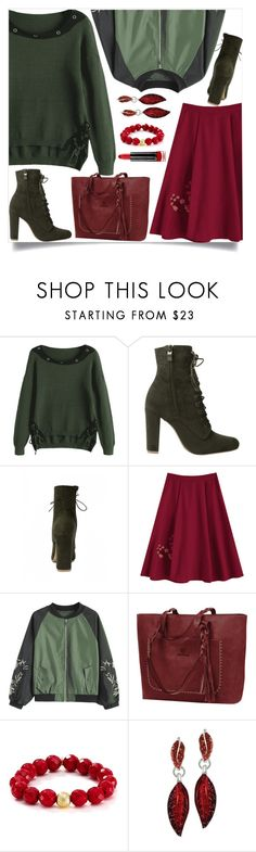 """""""Army green bomber jacket"""" by dzenanlevic99 ❤ liked on Polyvore featuring Bourbon and Boweties, Max Factor, skirt, Boots, Sweater, jacket and armygreen"""