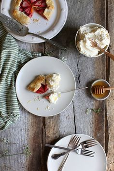 strawberry + peach galette with honey whipped cream by Maggie Pate