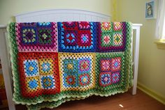 Blanket based on the Summer Garden Granny Square pattern  by Lucy of Attic24