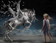 """Fan Painting based on Meredith Ann Pierce's """"Darkangel Trilogy"""""""