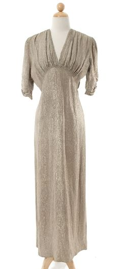 Evening Dress: ca. 1930's, pewter metallic texture.