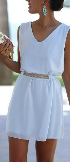 lovely white dress with gold belt