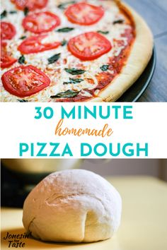 This easy homemade pizza dough is ready to use in just 30 minutes which is perfect for a quick weeknight dinner or a lazy weekend family pizza night. Quick Weeknight Dinners, Easy Family Dinners, Easy Meals, Weeknight Recipes, Budget Recipes, Cheap Meals, Easy Recipes, Healthy Recipes, Cheesy Breadsticks