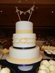 blue and yellow nautical wedding cake - Google Search