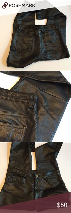 """Black Leather Pants Wilsons Leather is respected for their fine leather products and these pants are perfect. They have never been worn, but no tags. I finally got them altered because they came without a hem, but they do not fit anymore. Size 10 and a 32"""" inseam, ready to rock and roll now that it's getting bike weather. Wilsons Leather Pants Straight Leg"""