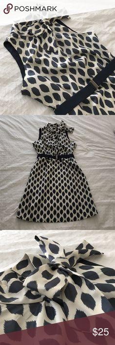 Polka dot dress NWOT ribbon-like fabric with matching elastic belt. Slate / navy blue and lined Dresses