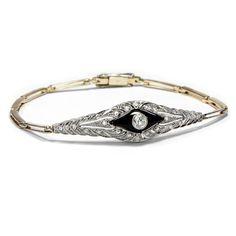Das perfekte Geschenk - Diamant-Armband des Art Déco in Onyx, Gold & Platin, um 1925 von Hofer Antikschmuck aus Berlin // #hoferantikschmuck #antik #schmuck #antique #jewellery #jewelry