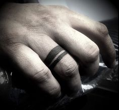 Wedding band tattoo idea, but I would like three rings, @kurtdunn